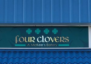 four clovers restaurant mpanel vinyl sign