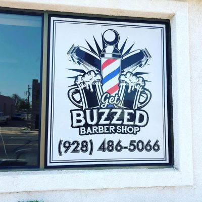 Lake Havasu City Barber shop window sign window perf