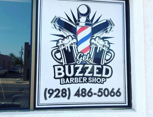Get Buzzed Barber Shop Window Perf