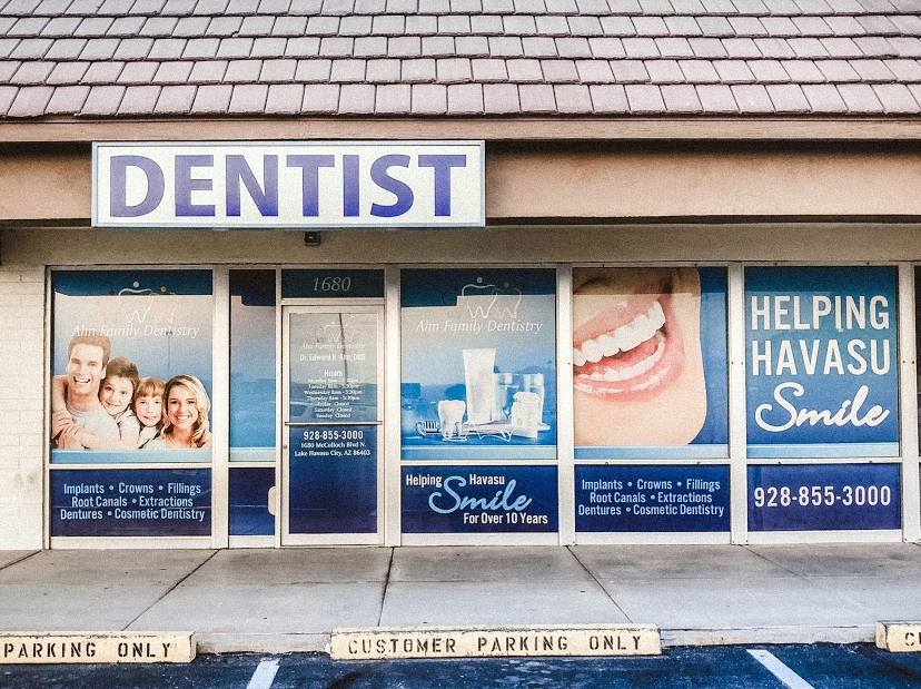 window perf signage for dentist in lake havasu city