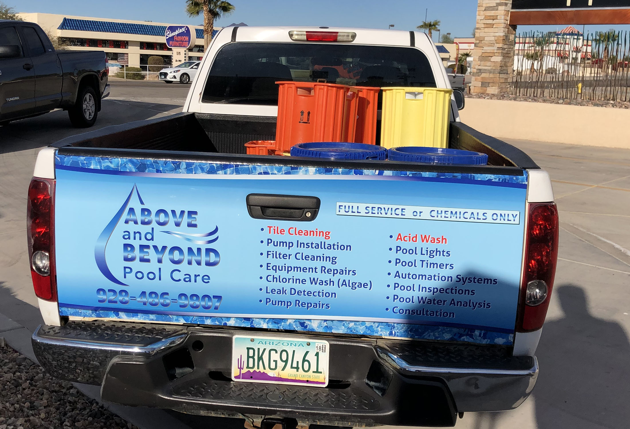 above beyond pool care tail gate wrap